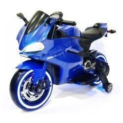 Электромотоцикл Ducati SX1628-G синий (колеса резина, сиденье кожа, музыка, страховочные колеса)