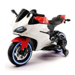 Детский электромотоцикл Ducati 12V - FT-1628 бело- красный (колеса светящиеся, сиденье кожа, музыка, страховочные колеса)
